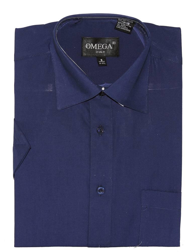 Omega Mens Dress Shirt Short Sleeve Button Up Shirt