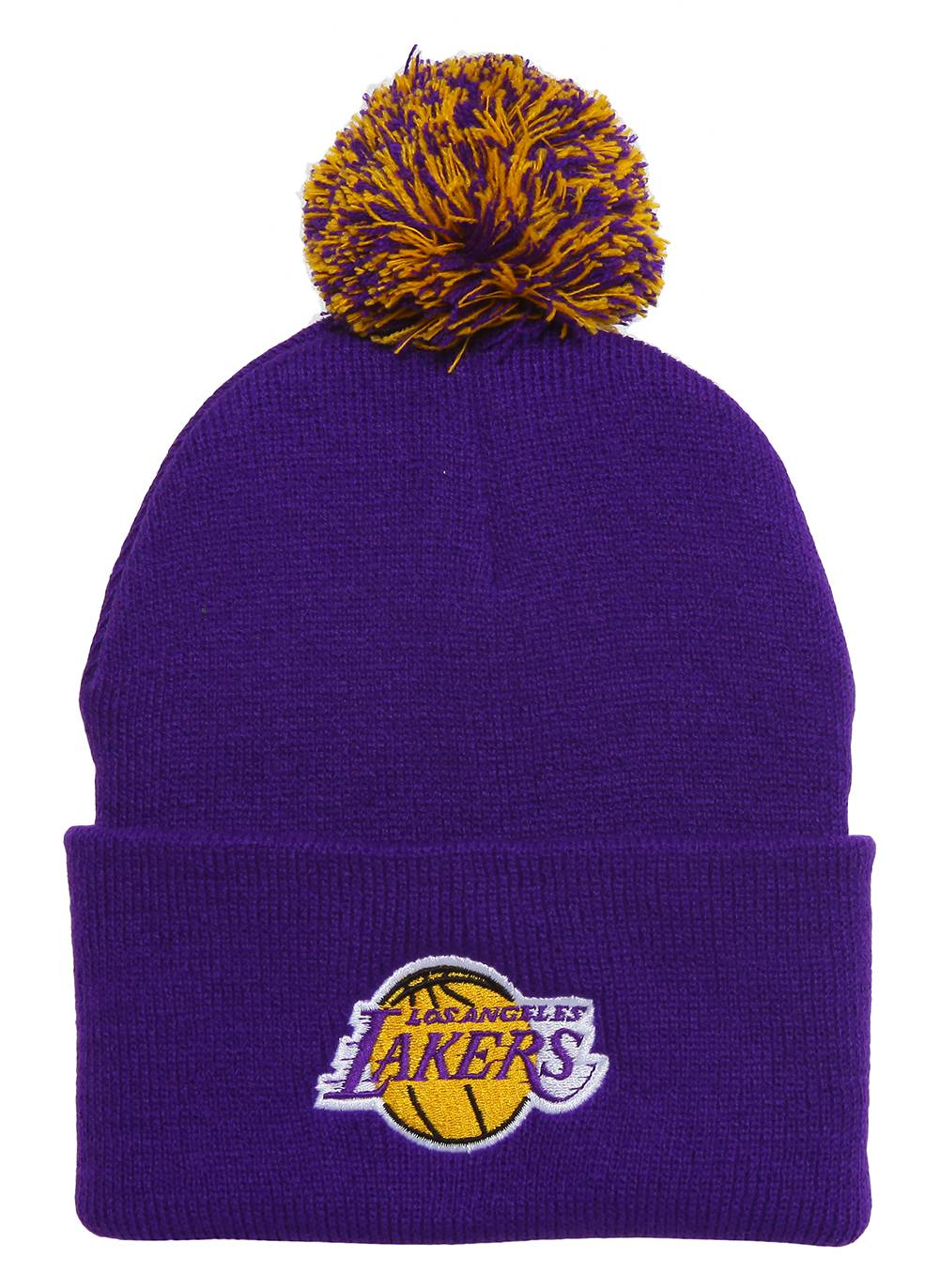 35f319590c0 Details about Los Angeles Lakers Purple Cuffed Beanie w  Pom + Throwback  Lanyard