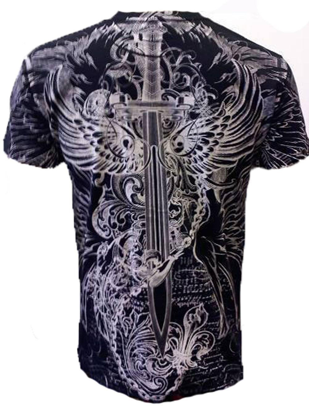 Konflic-NWT-Men-039-s-Eagle-Defender-Graphic-Designer-MMA-Muscle-Crewneck-T-shirt thumbnail 4