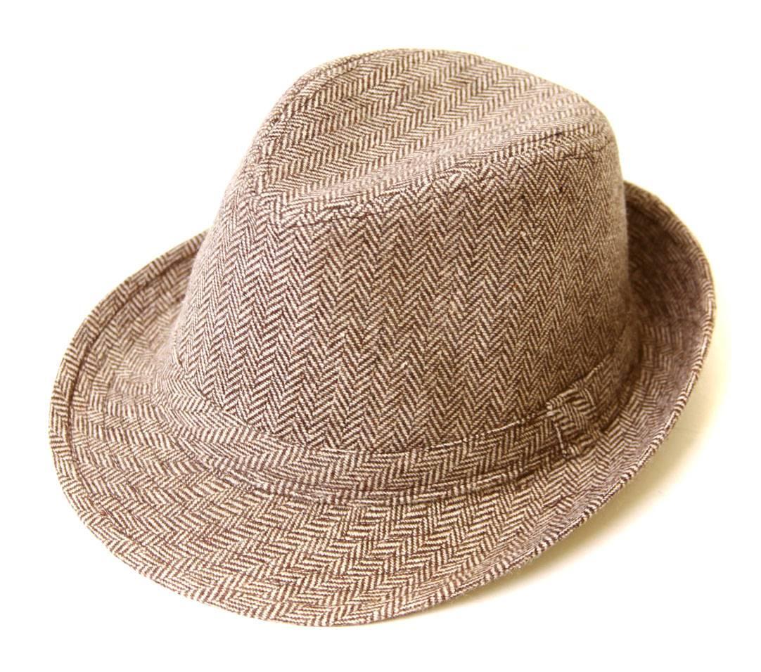 Tweed Fedora Hat- Light Brown 798711777778  6c3fdae66