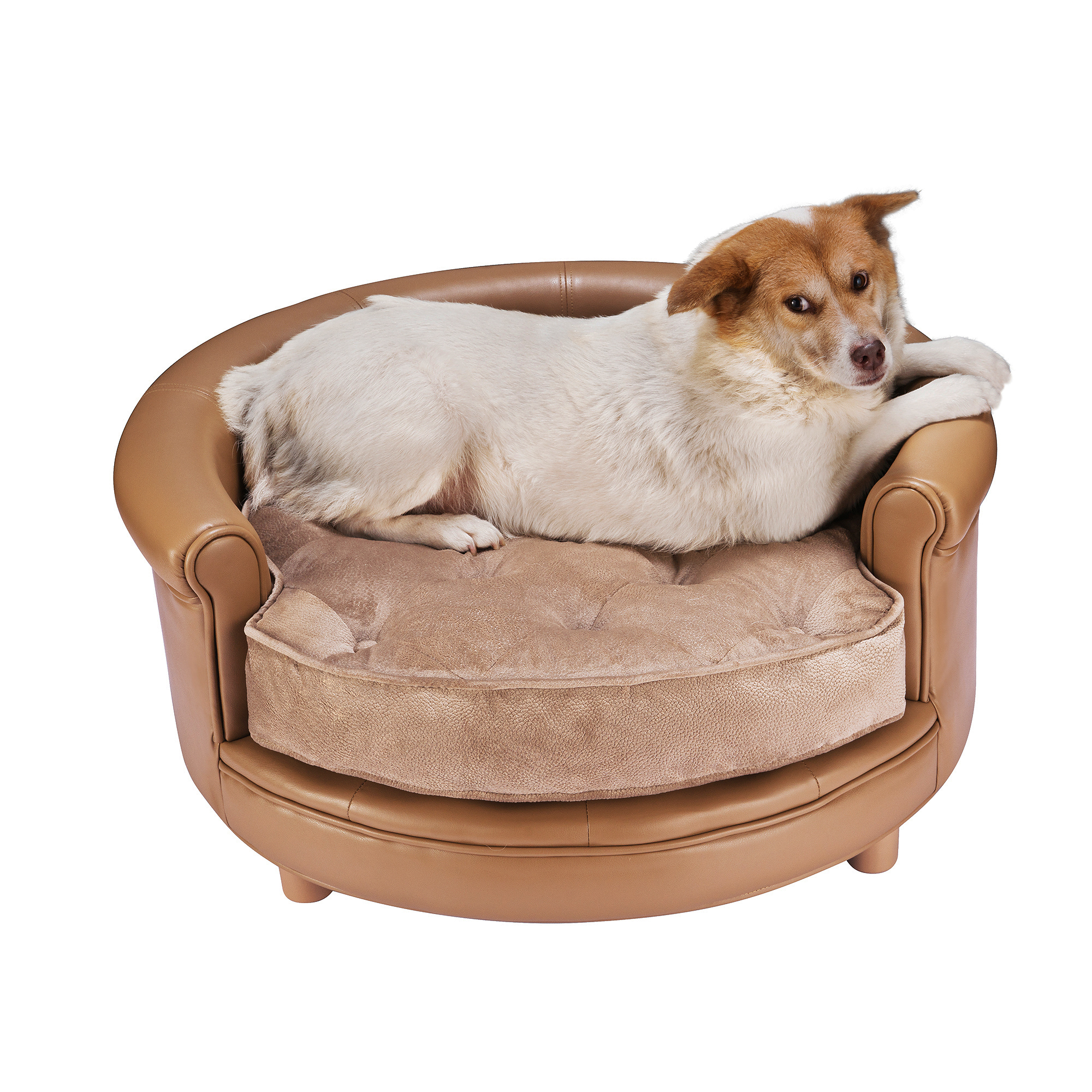 Chesterfield Faux Leather Large Dog Bed Designer Pet Sofa