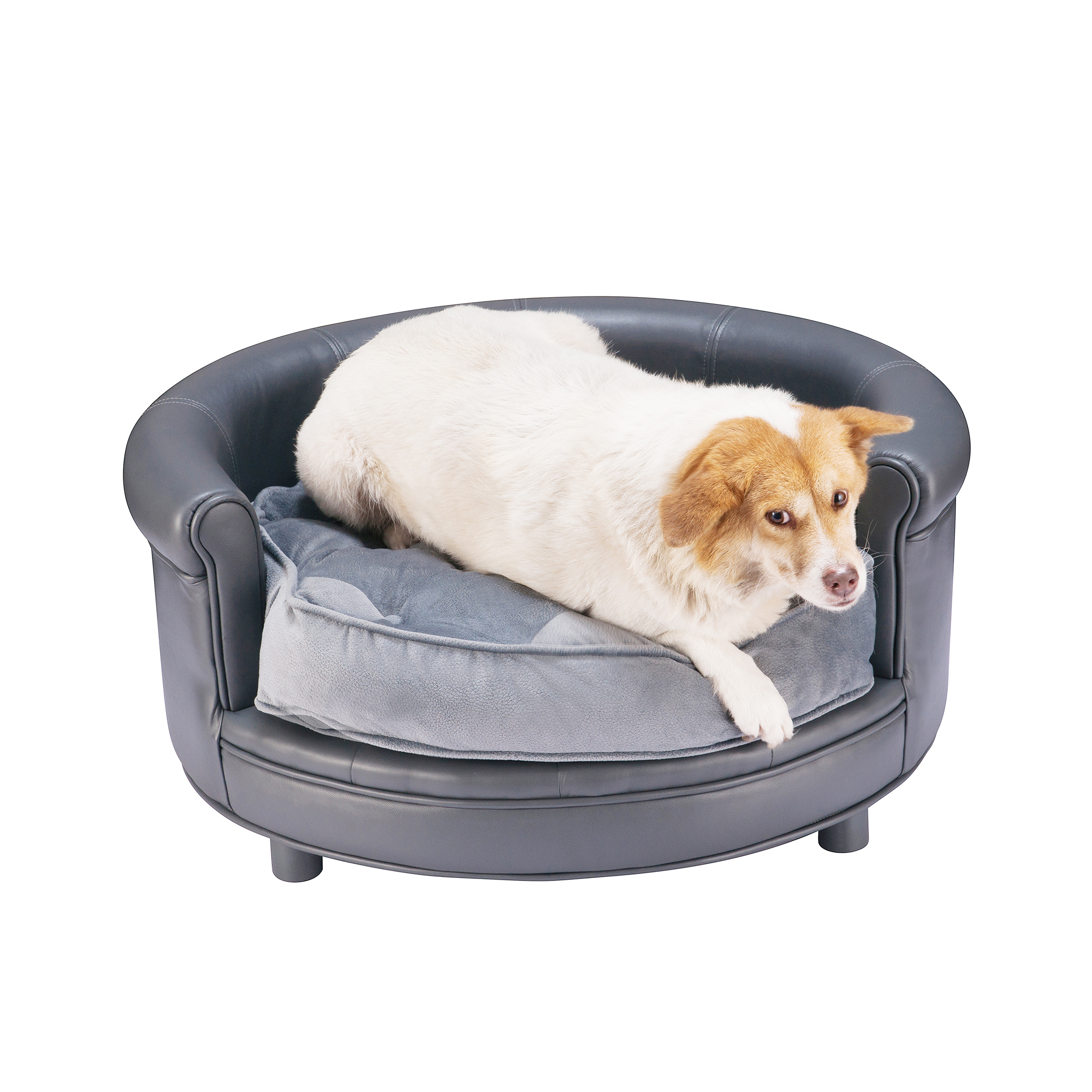 Chesterfield Faux Leather Dog Bed Designer Pet Sofa By