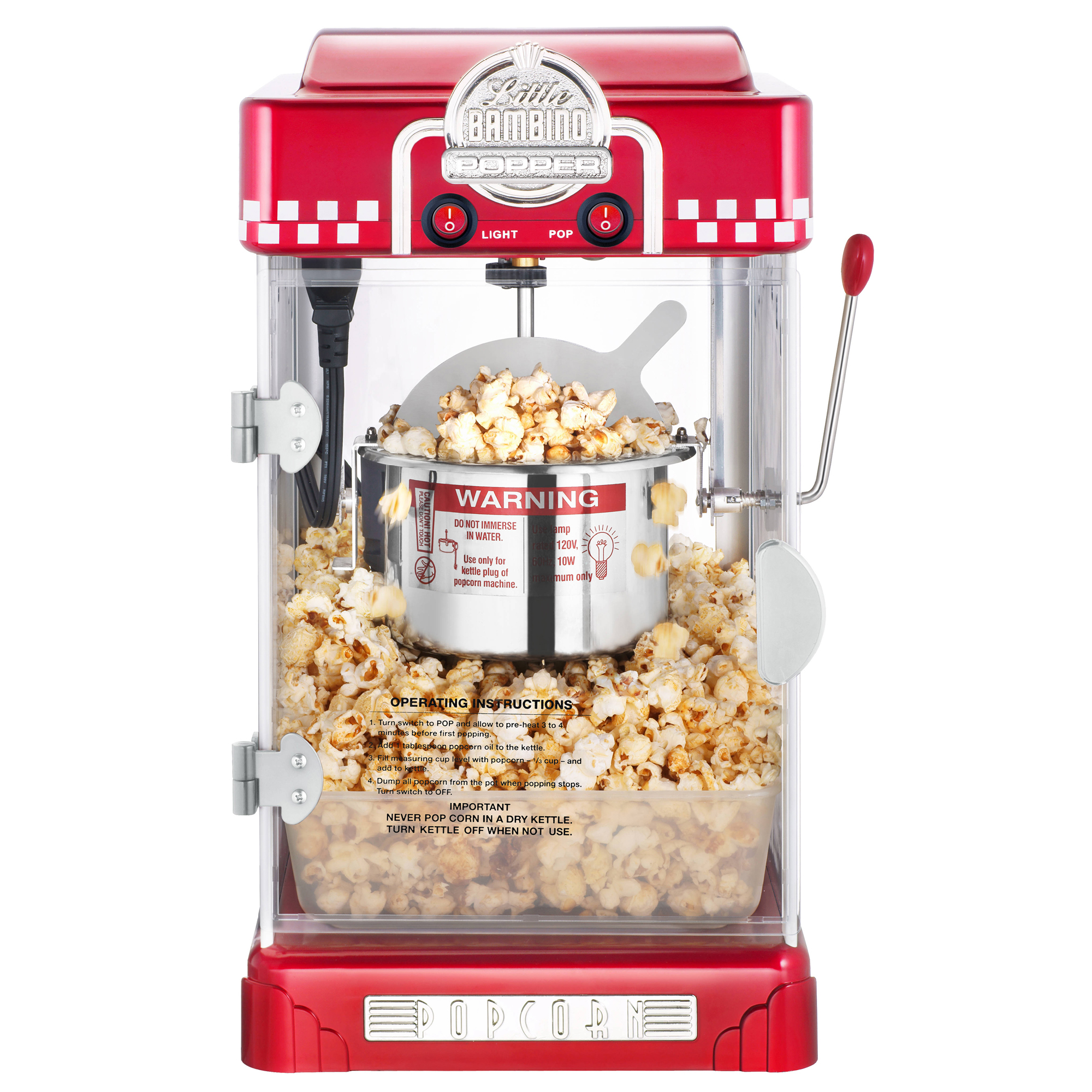 little bambino retro 2 5 oz tabletop kettle popcorn popper machine red or black ebay. Black Bedroom Furniture Sets. Home Design Ideas