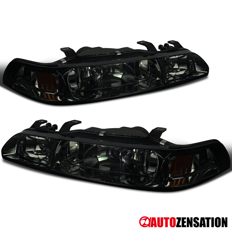 For 90-93 Acura Integra Pair Smoke Headlights+Corner