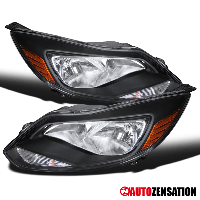 FOR 2012-2014 FORD FOCUS FACTORY STYLE CHROME AMBER REFLECTOR HEADLIGHT HEADLAMP
