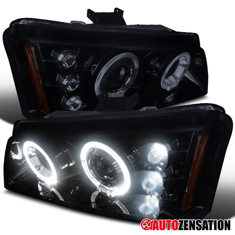 chevy 02 06 avalanche 03 07 silverado glossy black led halo projector headlights ebay. Black Bedroom Furniture Sets. Home Design Ideas