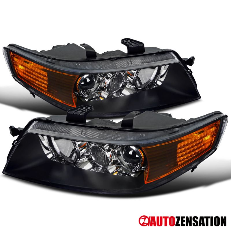04-05 Acura TSX Crystal Black Projector Headlights+Amber