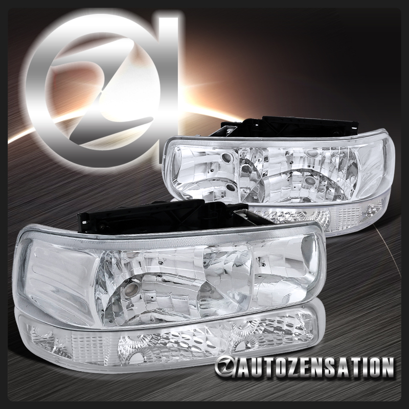 Details about 99-02 Silverado 00-06 Suburban Tahoe Crystal Chrome  Headlight+Clear Bumper Lamp