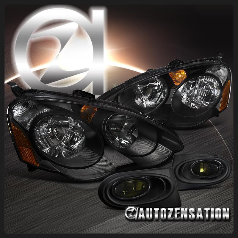 For 2002-2004 Acura RSX DC5 Black Crystal Headlights+Smoke