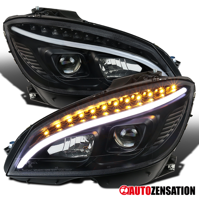 Details about 2008-2011 Mercedes W204 C-Class Black LED Projector  Headlights Pair Lamps