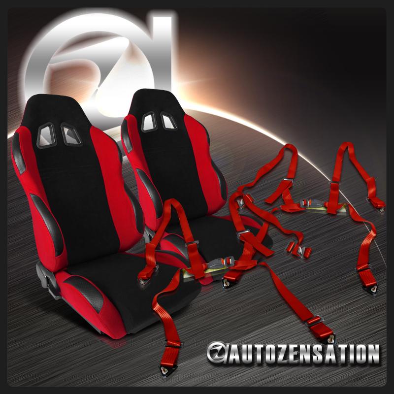 2x Sport Off-Road Bucket Black Frame Racing Seats+Red 4-PT Cam Lock Seat Belts