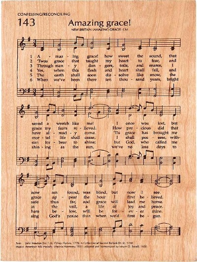 Amazing Grace Song Hymn Carved Engraved Sign Plaque on PopScreen
