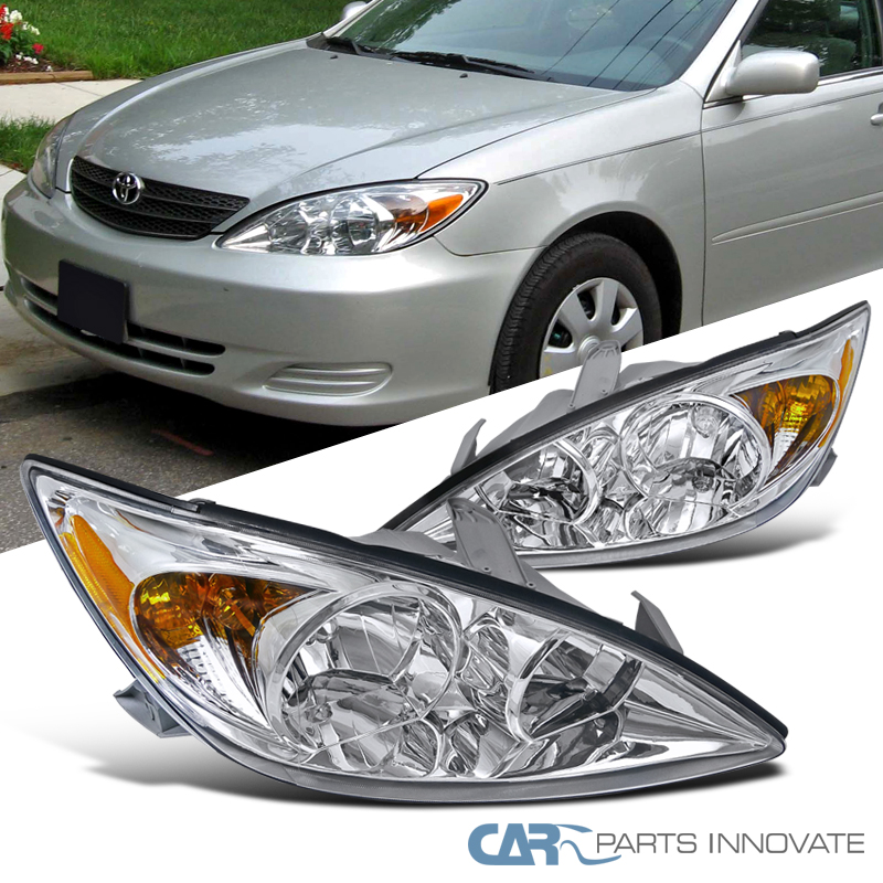 fit 02 04 toyota camry le xle se clear headlights amber. Black Bedroom Furniture Sets. Home Design Ideas
