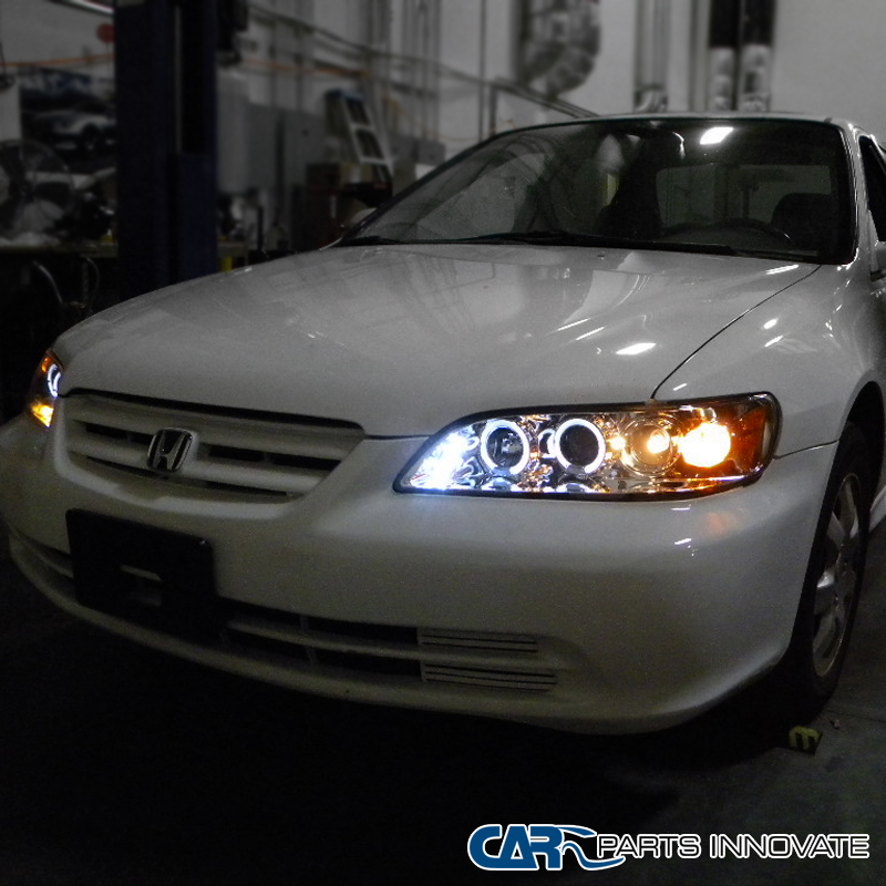 Fit Honda 98-02 Accord 2/4Dr Clear LED Halo Projector