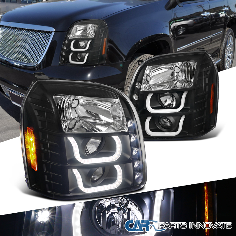 07 14 Gmc Yukon Denali Xl Black Led Halo Projector