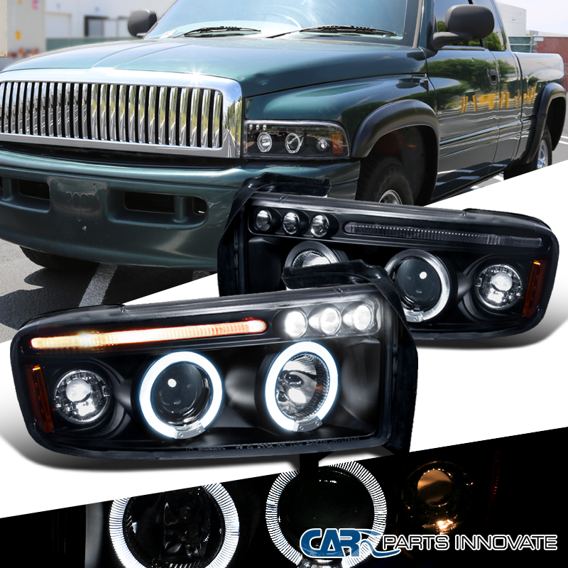 Dodge 94 01 ram 1500 2500 3500 led halo projector headlights lamps img sciox Gallery