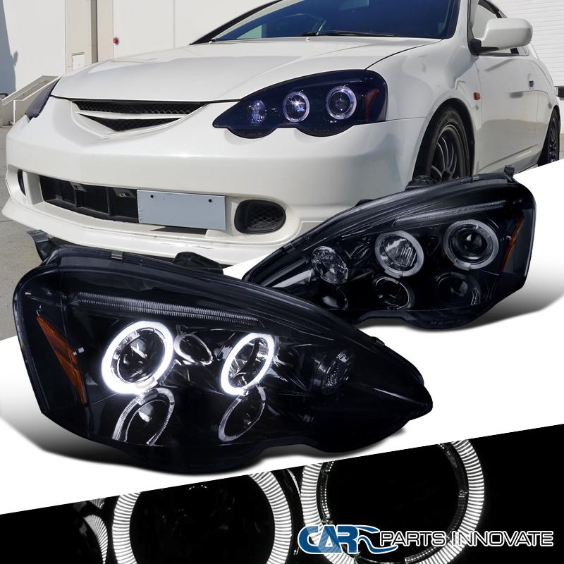 Glossy Black Acura RSX DC Smoke Lens Halo Projector - Acura rsx car parts