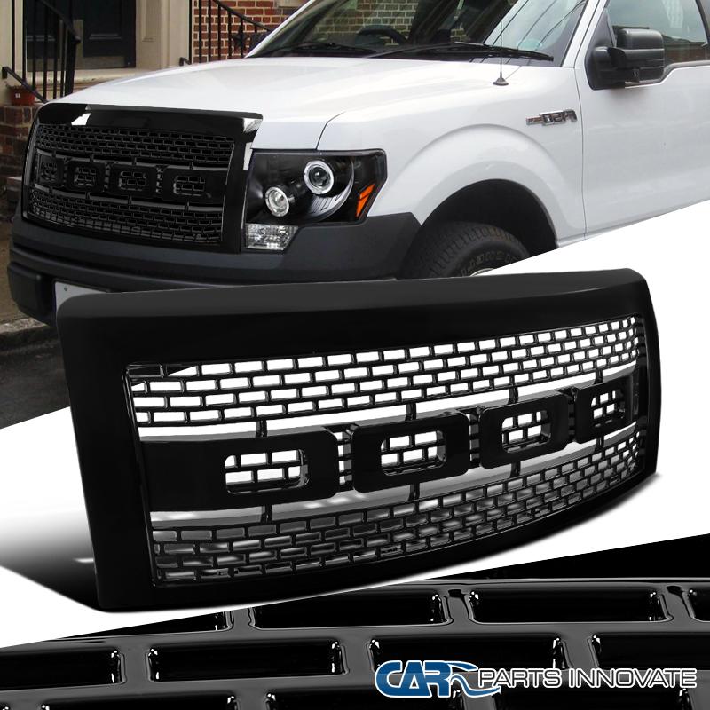 2009 2014 ford f150 pickup raptor style black front hood grill grille w shell ebay. Black Bedroom Furniture Sets. Home Design Ideas
