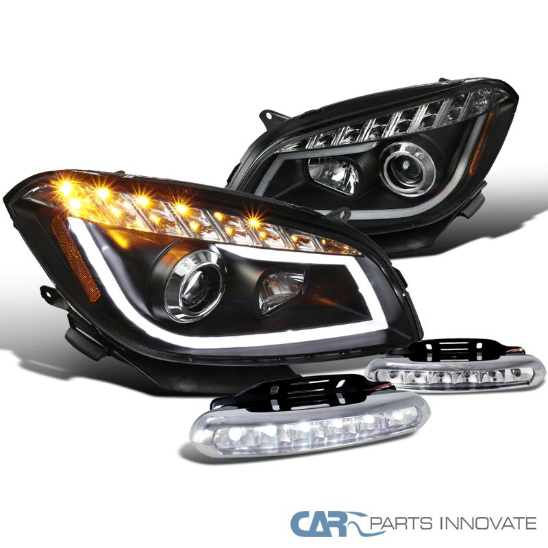 Chevy 08-12 Malibu Black LED Signal Projector Headlights