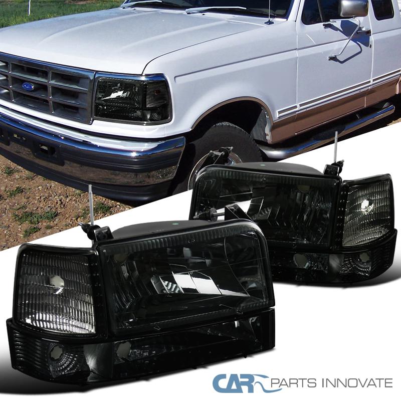 92 96 ford f150 f250 f350 bronco smoke headlights bumper. Black Bedroom Furniture Sets. Home Design Ideas