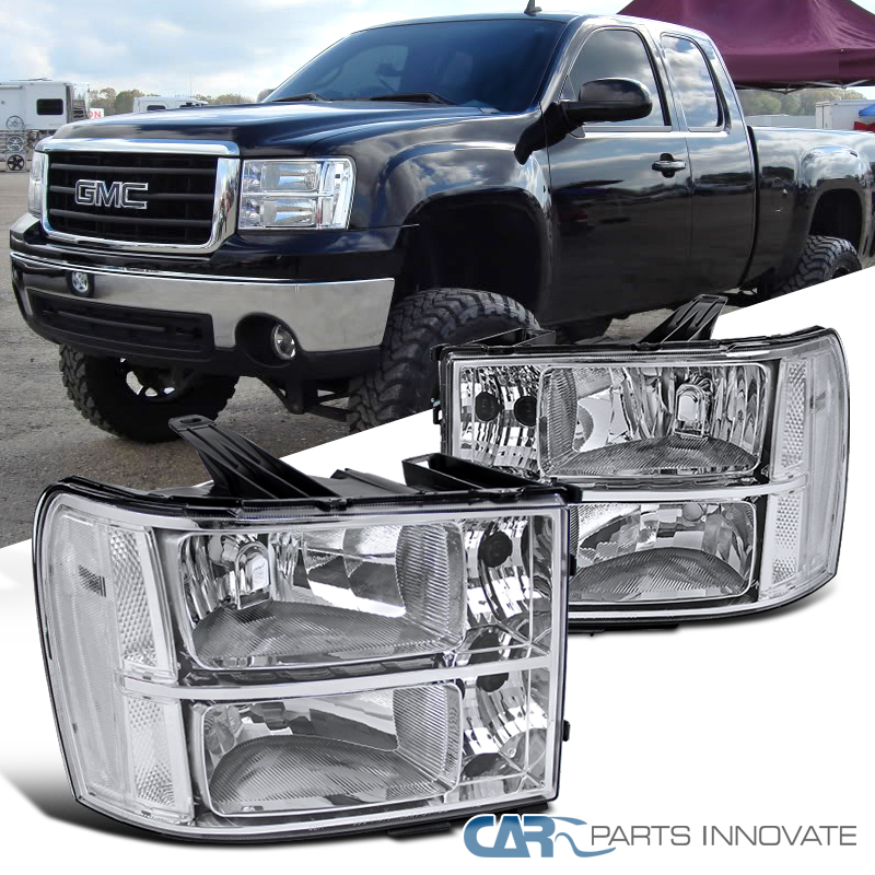 07 13 gmc sierra clear chrome replacement headlights headlamps left right pair ebay. Black Bedroom Furniture Sets. Home Design Ideas