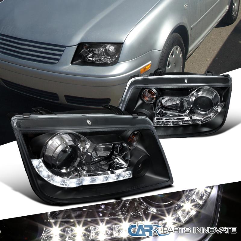 For VW 99 05 Jetta Bora Mk4 LED Projector Headlights Lamps Black