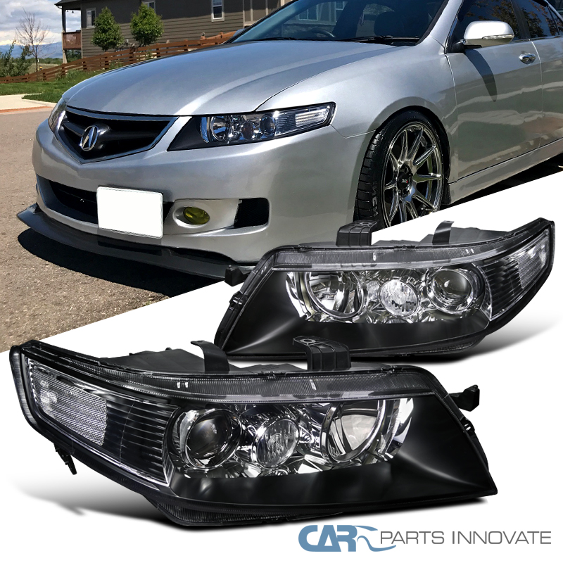 Acura TSX Dr Sedan JDM Replacement Black Projector Headlights - 2006 acura tsx headlights
