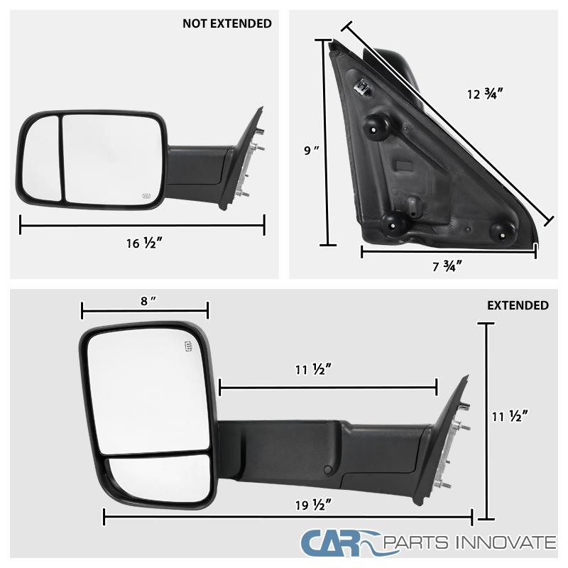 09 12 Dodge Ram 1500 Power Heated Folding Towing Mirrors