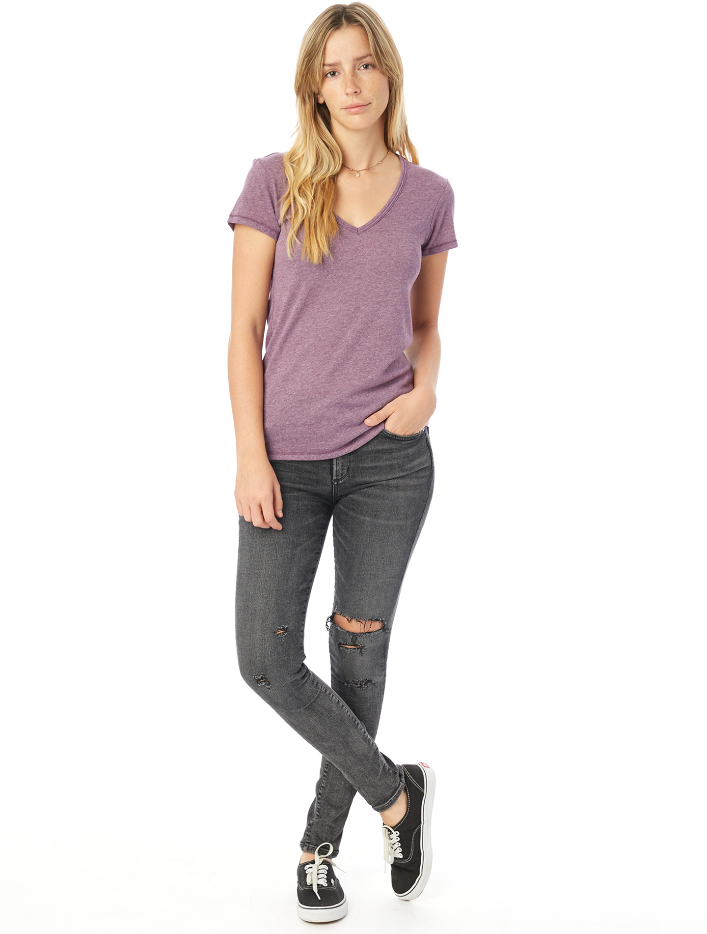 Womens//Ladies Value Fitted V-Neck Short Sleeve Casual T-Shirt BC3905