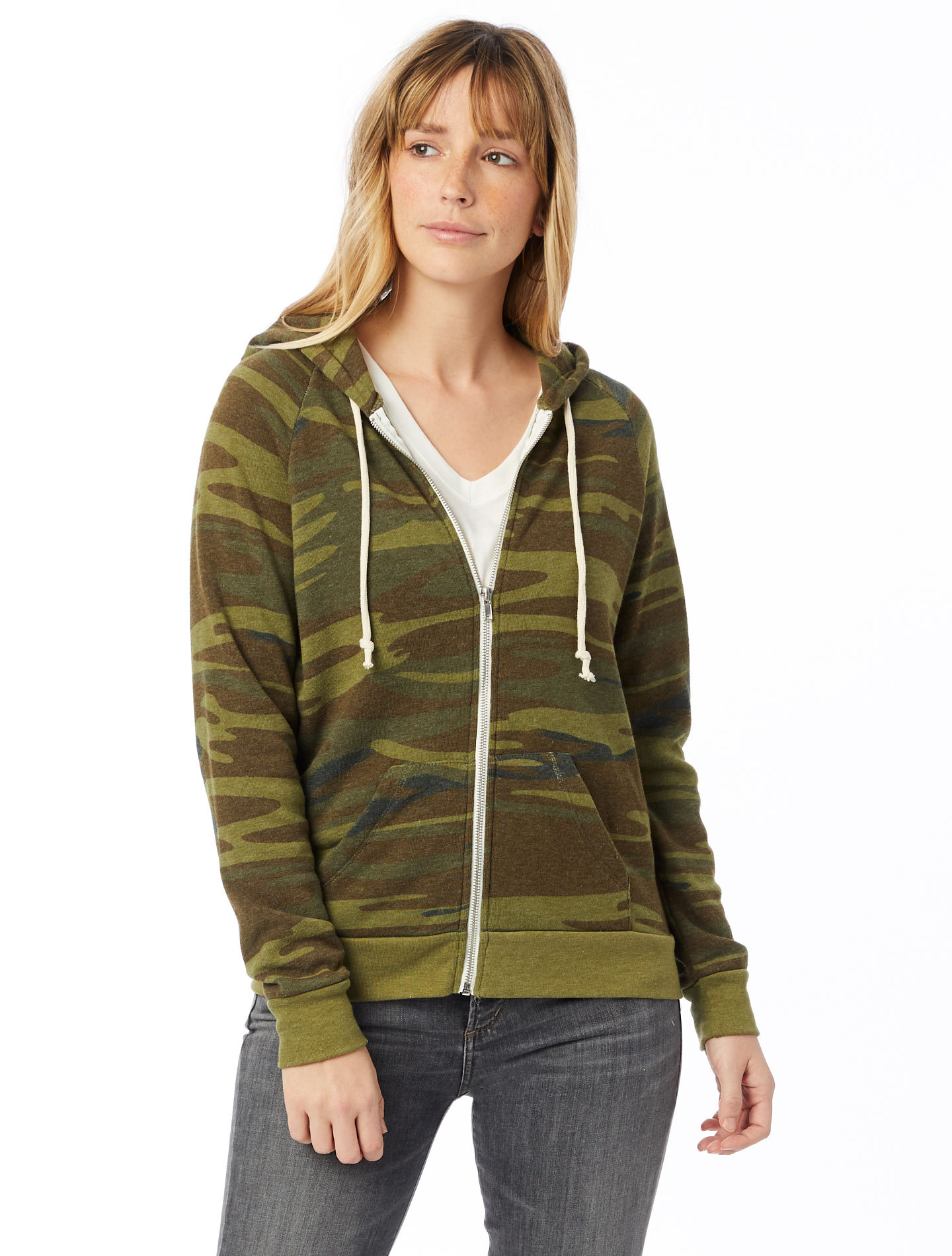 A classic zip-up hoodie for women, crafted from our super soft Eco-Fleece for warmth all year long. Features a slim silhouette.