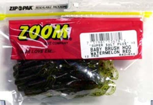 Zoom Baby Brush Hog Watermelon Red Soft Plastic Bait Fishing Lures Pack of 12