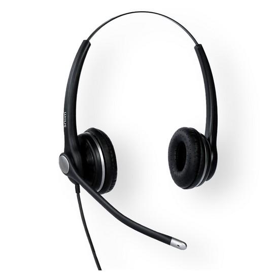 Snom A100D Wired 300 Degree Flexible Boom Binaural Headset w/QD RJ9 811819012135 - tnbattery.com