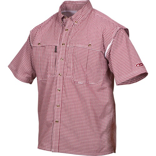 Drake Waterfowl DW2670-RED-1 Game Day Mens Red  Plaid Small S S Button Shirt  incredible discounts
