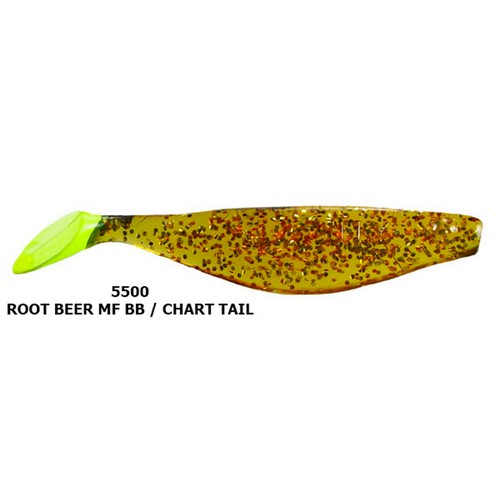 """Hogie Lures 5500 Rootbeer Flake 4/"""" SW Soft Plastic Fishing Lure 5 Pk"""