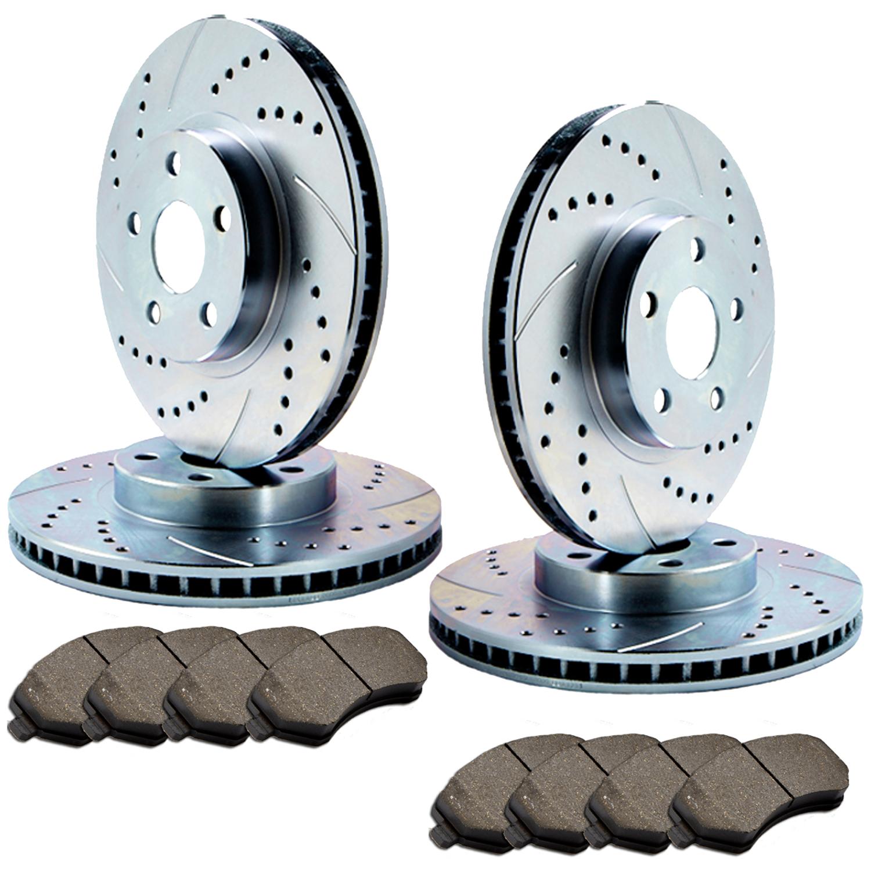 F+R Double Drilled//Slotted Zinc Coated Premium Rotors /& Semi-Met Pads  ATL036701