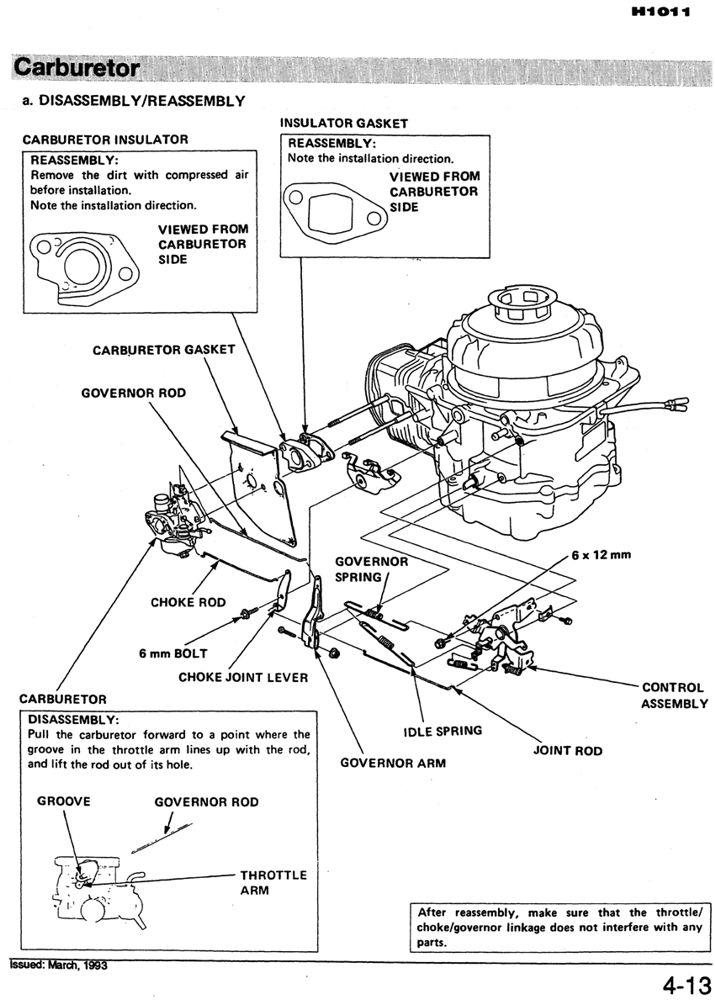honda h1011 riding mower service repair shop manual honda power rh publications powerequipment honda com Honda Harmony Riding Mower Manual Honda Harmony 1011 Parts List
