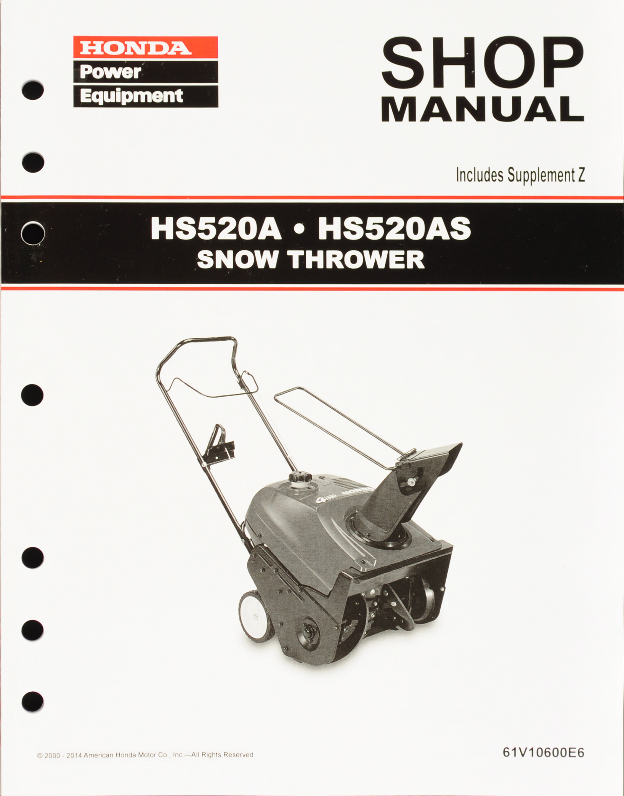HS520A HS520AS Snow Thrower Shop Manual