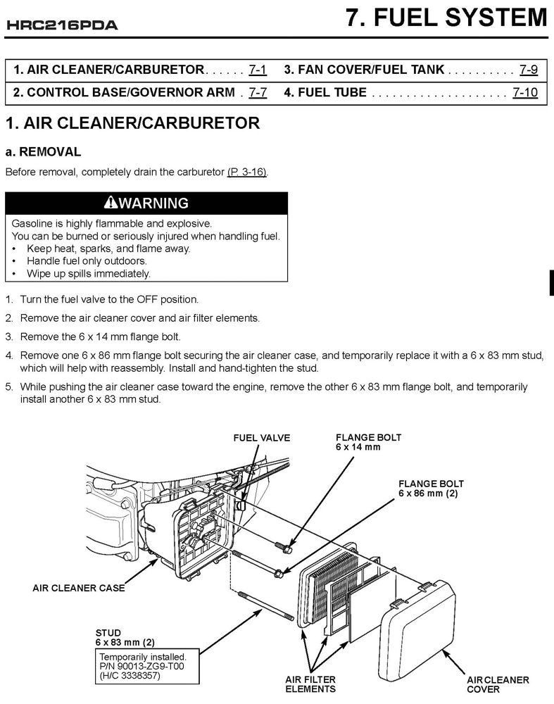Hrc216 Pda Commercial Lawn Mower Shop Manual Honda Power Products Download Carburetor Linkage Diagram Picture