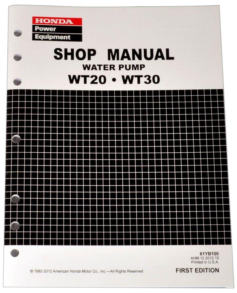 Honda WT20 WT30 Pump Service Repair Shop Manual SLIGHT DAMAGE