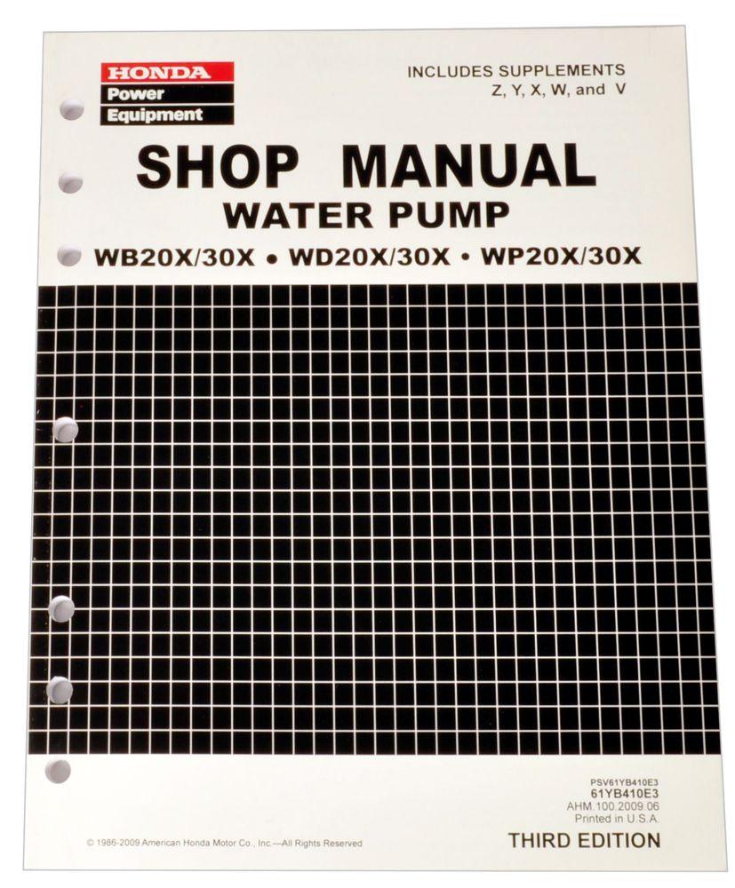 Honda WB20 WB30 WD20 WD30 WP20 WP30 Pump Service Repair Shop Manual
