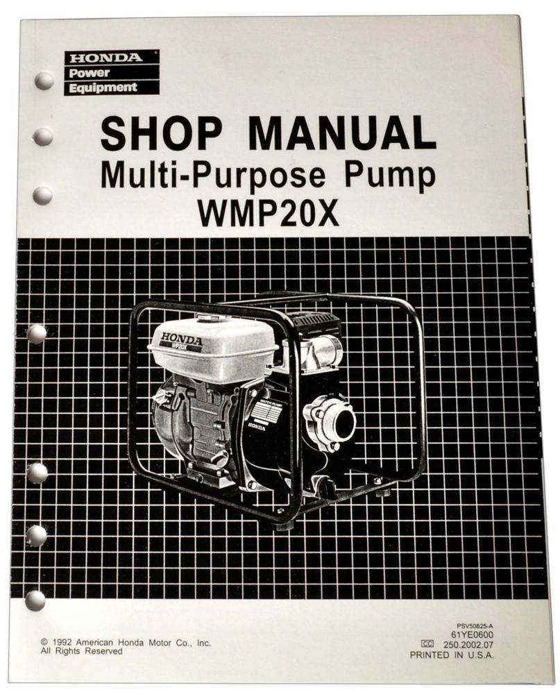 WMP20X Water Pump Shop Manual