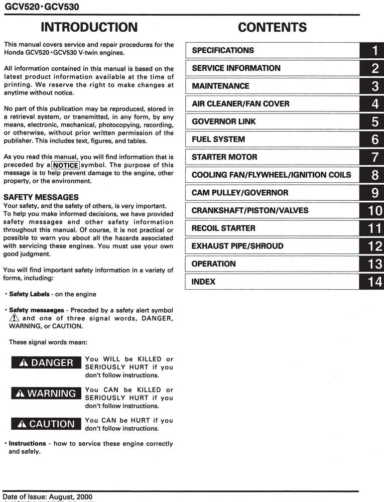 honda gcv520 gcv530 gxv520 gxv530 engine service repair shop manual rh publications powerequipment honda com Honda HR214 Service Manual GCV160 Service Manual