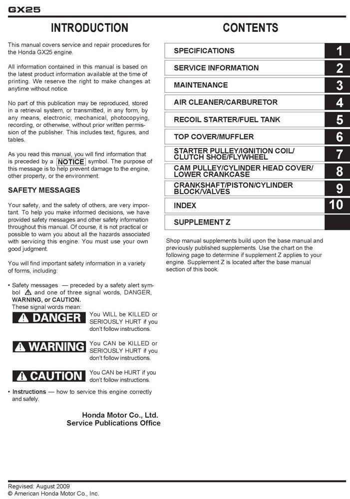 honda gx25 engine service repair shop manual