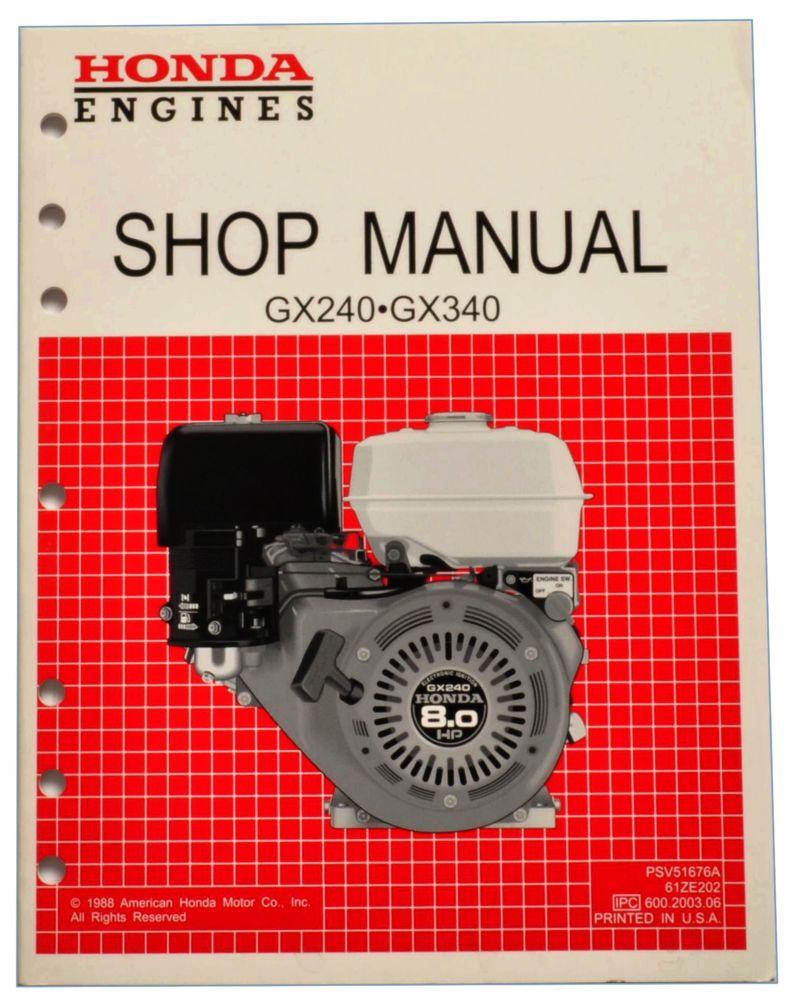 Honda GX240 GX340 K0 Engine Service Repair Shop Manual