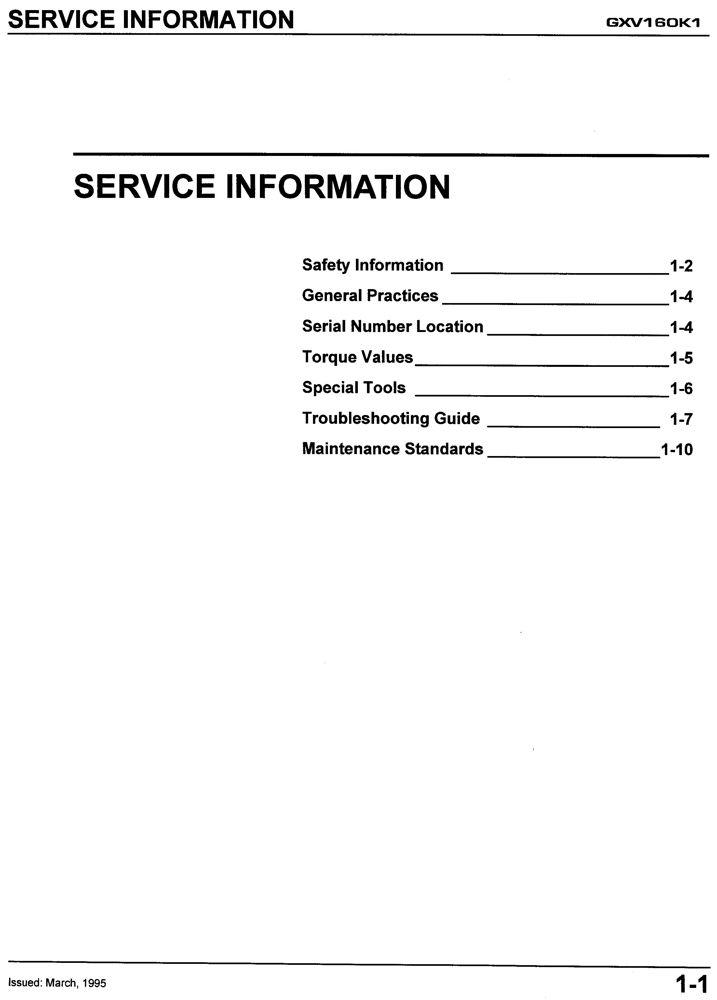honda gxv160 k1 ua1 a1 engine service repair shop manual honda rh publications powerequipment honda com Auger Honda GXV160 GXV160 OHV
