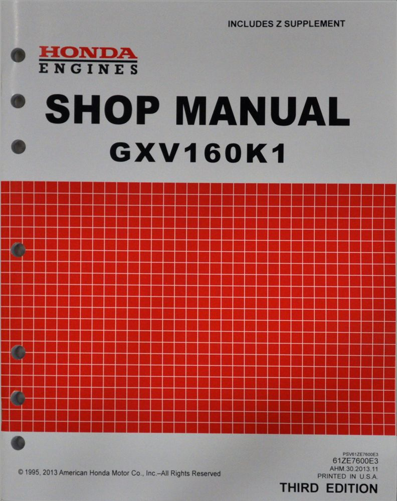 Honda GXV160 K1 UA1 A1 Engine Service Repair Shop Manual