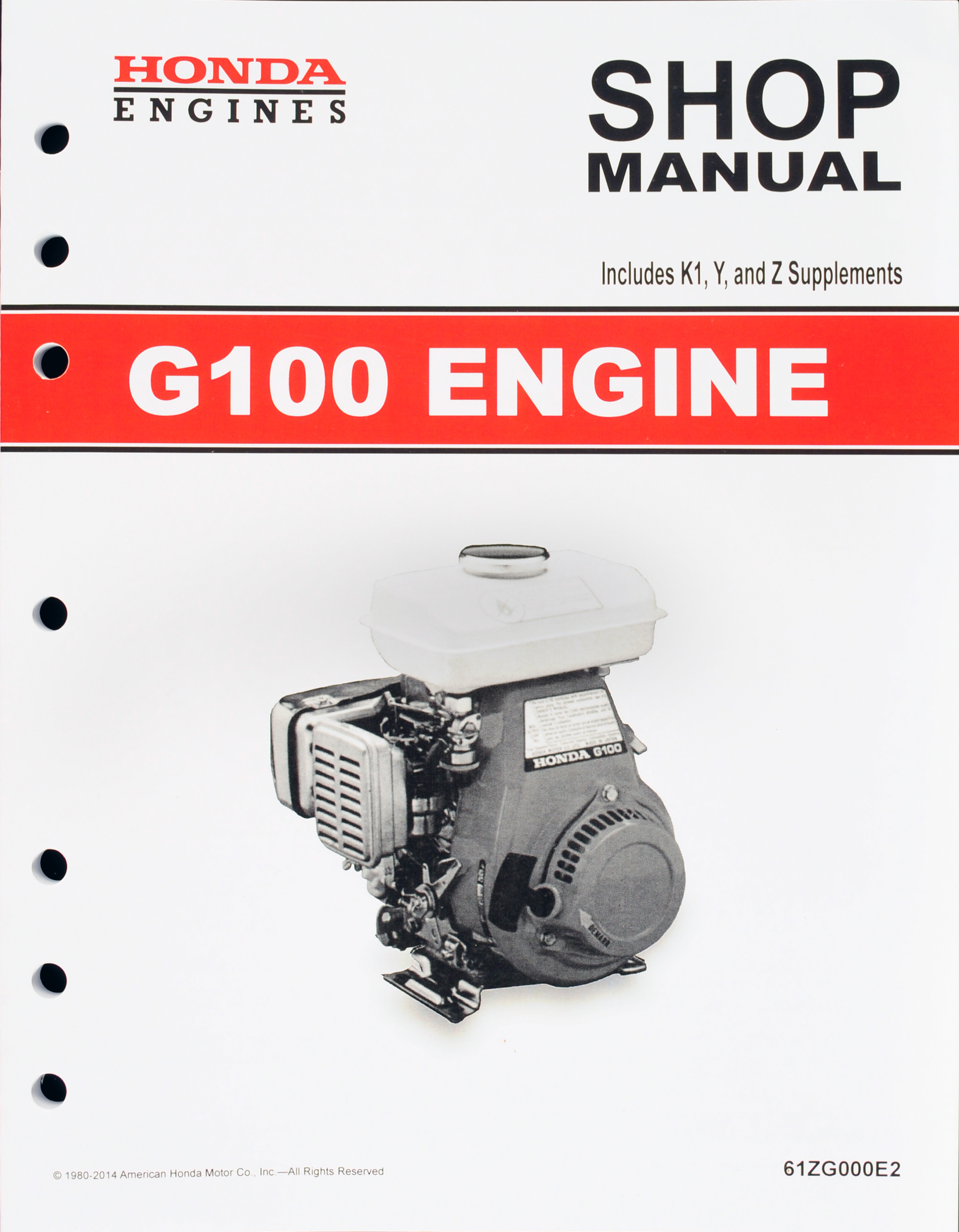honda g100 engine service repair shop manual honda power products rh publications powerequipment honda com honda g100 owners manual Honda G400