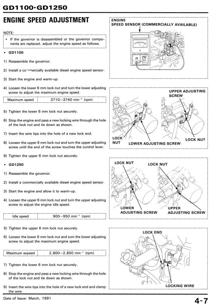 GD1100 GD1250 Engine Service Repair Shop Manual | Honda Power