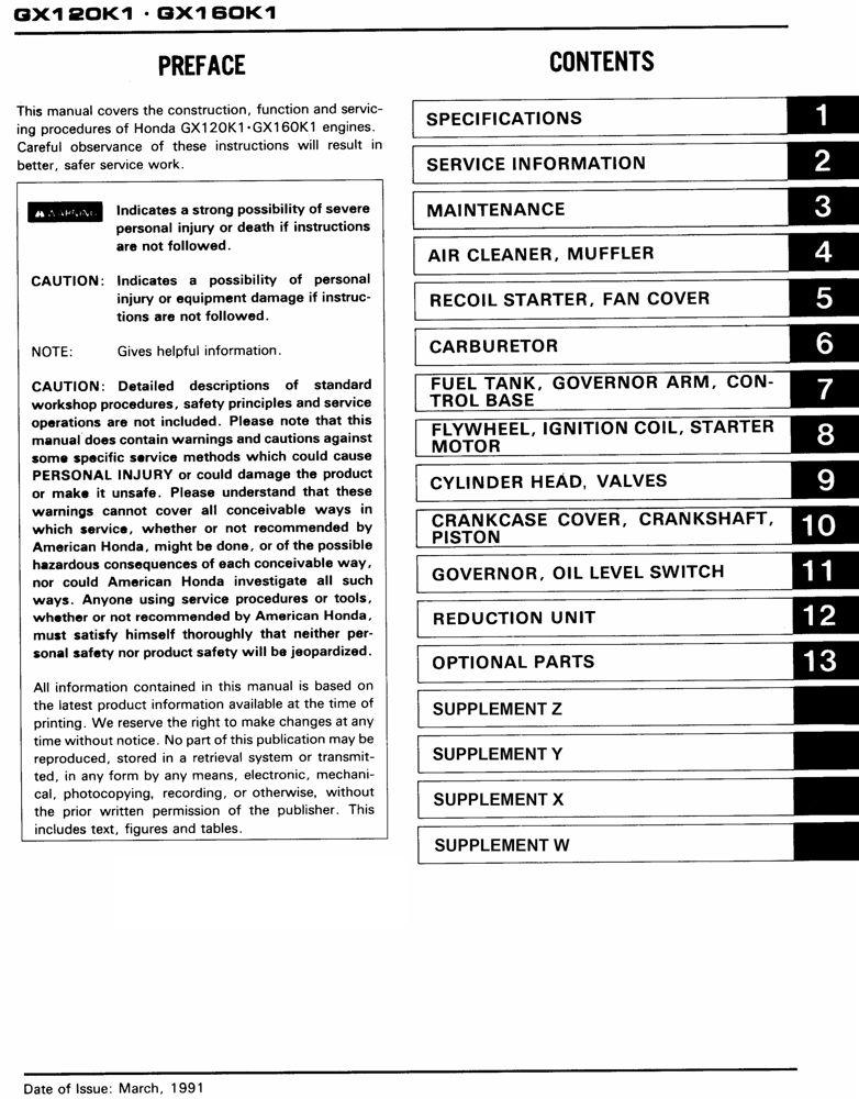 honda gx120 gx160 gx200 engine service repair shop manual honda rh publications powerequipment honda com GX160 Carburetor Diagram GX160 Parts