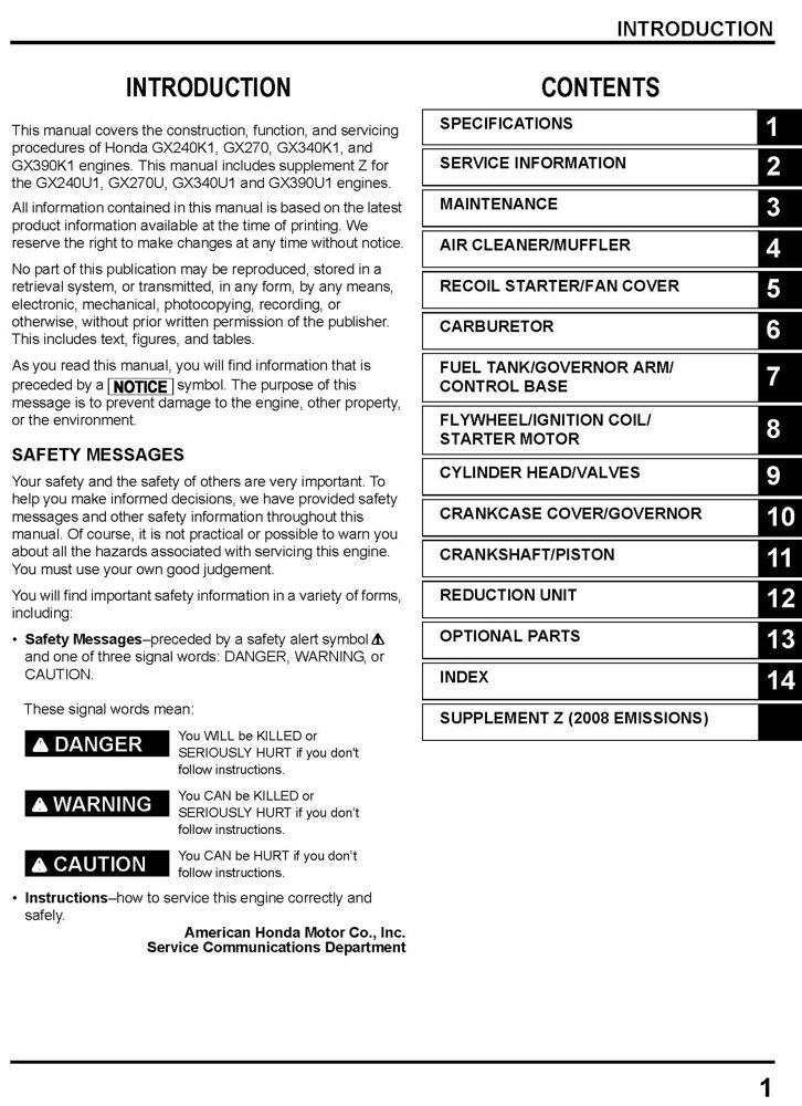 honda gx240 gx270 gx340 gx390 engine service repair shop manual rh publications powerequipment honda com honda gx270 service manual pdf honda gx270 repair manual pdf